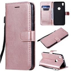 Retro Greek Classic Smooth PU Leather Wallet Phone Case for Motorola Moto E6 - Rose Gold