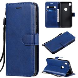 Retro Greek Classic Smooth PU Leather Wallet Phone Case for Motorola Moto E6 - Blue