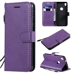 Retro Greek Classic Smooth PU Leather Wallet Phone Case for Motorola Moto E6 - Purple