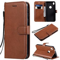 Retro Greek Classic Smooth PU Leather Wallet Phone Case for Motorola Moto E6 - Brown