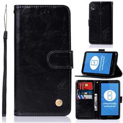 Luxury Retro Leather Wallet Case for Motorola Moto E6 - Black