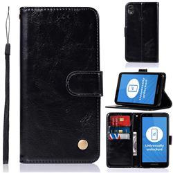Luxury Retro Leather Wallet Case for Motorola Moto E6 - Black