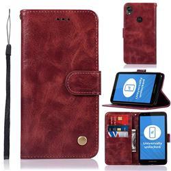 Luxury Retro Leather Wallet Case for Motorola Moto E6 - Wine Red