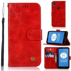 Luxury Retro Leather Wallet Case for Motorola Moto E6 - Red