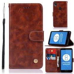 Luxury Retro Leather Wallet Case for Motorola Moto E6 - Brown