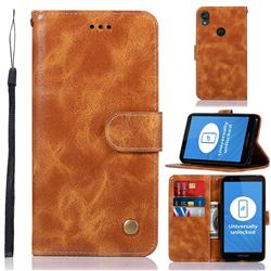 Luxury Retro Leather Wallet Case for Motorola Moto E6 - Golden