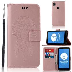 Intricate Embossing Owl Campanula Leather Wallet Case for Motorola Moto E6 - Rose Gold