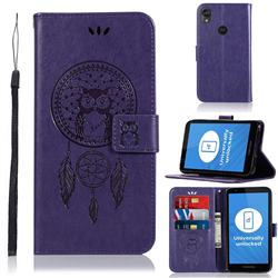 Intricate Embossing Owl Campanula Leather Wallet Case for Motorola Moto E6 - Purple