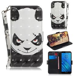 Angry Bear 3D Painted Leather Wallet Phone Case for Motorola Moto E6