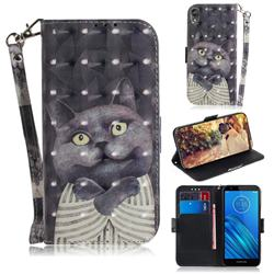 Cat Embrace 3D Painted Leather Wallet Phone Case for Motorola Moto E6
