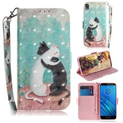 Black and White Cat 3D Painted Leather Wallet Phone Case for Motorola Moto E6