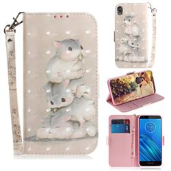 Three Squirrels 3D Painted Leather Wallet Phone Case for Motorola Moto E6