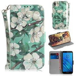 Watercolor Flower 3D Painted Leather Wallet Phone Case for Motorola Moto E6