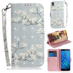 Magnolia Flower 3D Painted Leather Wallet Phone Case for Motorola Moto E6