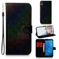 Laser Circle Shining Leather Wallet Phone Case for Motorola Moto E6 - Black