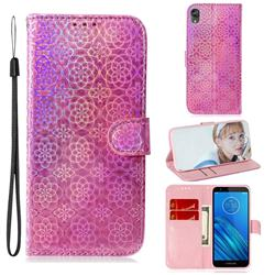 Laser Circle Shining Leather Wallet Phone Case for Motorola Moto E6 - Pink