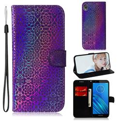 Laser Circle Shining Leather Wallet Phone Case for Motorola Moto E6 - Purple