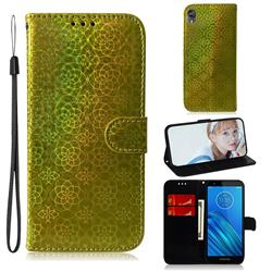 Laser Circle Shining Leather Wallet Phone Case for Motorola Moto E6 - Golden