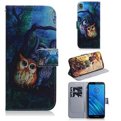 Oil Painting Owl PU Leather Wallet Case for Motorola Moto E6