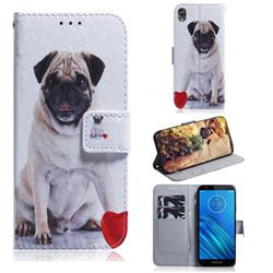Pug Dog PU Leather Wallet Case for Motorola Moto E6