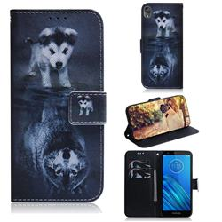 Wolf and Dog PU Leather Wallet Case for Motorola Moto E6