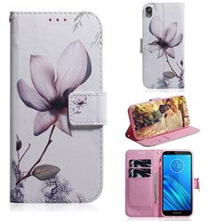 Magnolia Flower PU Leather Wallet Case for Motorola Moto E6