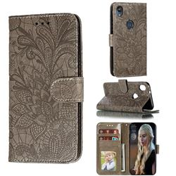 Intricate Embossing Lace Jasmine Flower Leather Wallet Case for Motorola Moto E6 - Gray