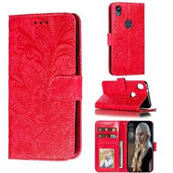Intricate Embossing Lace Jasmine Flower Leather Wallet Case for Motorola Moto E6 - Red