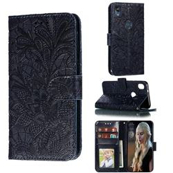 Intricate Embossing Lace Jasmine Flower Leather Wallet Case for Motorola Moto E6 - Dark Blue