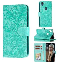 Intricate Embossing Lace Jasmine Flower Leather Wallet Case for Motorola Moto E6 - Green