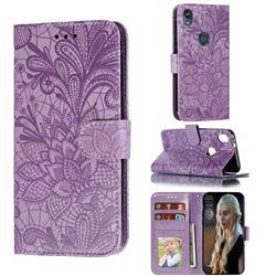 Intricate Embossing Lace Jasmine Flower Leather Wallet Case for Motorola Moto E6 - Purple