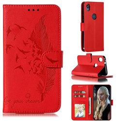 Intricate Embossing Lychee Feather Bird Leather Wallet Case for Motorola Moto E6 - Red