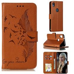 Intricate Embossing Lychee Feather Bird Leather Wallet Case for Motorola Moto E6 - Brown