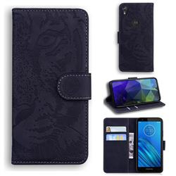 Intricate Embossing Tiger Face Leather Wallet Case for Motorola Moto E6 - Black