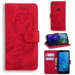 Intricate Embossing Tiger Face Leather Wallet Case for Motorola Moto E6 - Red