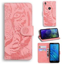 Intricate Embossing Tiger Face Leather Wallet Case for Motorola Moto E6 - Pink
