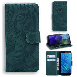 Intricate Embossing Tiger Face Leather Wallet Case for Motorola Moto E6 - Green