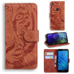 Intricate Embossing Tiger Face Leather Wallet Case for Motorola Moto E6 - Brown