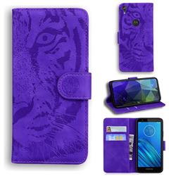 Intricate Embossing Tiger Face Leather Wallet Case for Motorola Moto E6 - Purple
