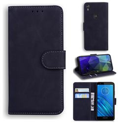 Retro Classic Skin Feel Leather Wallet Phone Case for Motorola Moto E6 - Black