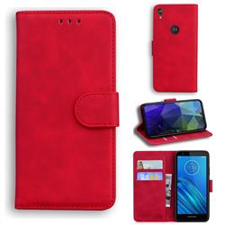 Retro Classic Skin Feel Leather Wallet Phone Case for Motorola Moto E6 - Red
