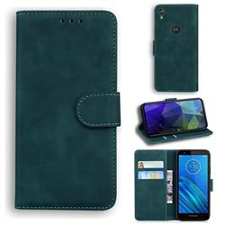 Retro Classic Skin Feel Leather Wallet Phone Case for Motorola Moto E6 - Green