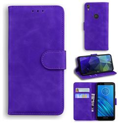 Retro Classic Skin Feel Leather Wallet Phone Case for Motorola Moto E6 - Purple