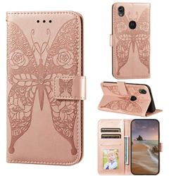 Intricate Embossing Rose Flower Butterfly Leather Wallet Case for Motorola Moto E6 - Rose Gold