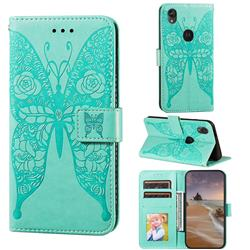 Intricate Embossing Rose Flower Butterfly Leather Wallet Case for Motorola Moto E6 - Green