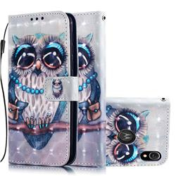 Sweet Gray Owl 3D Painted Leather Wallet Case for Motorola Moto E6