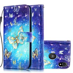Gold Butterfly 3D Painted Leather Wallet Case for Motorola Moto E6