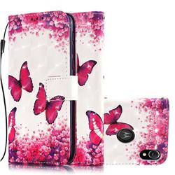 Rose Butterfly 3D Painted Leather Wallet Case for Motorola Moto E6