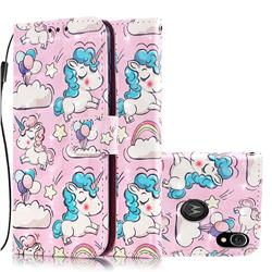 Angel Pony 3D Painted Leather Wallet Case for Motorola Moto E6