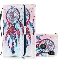 ColorDrops Wind Chimes 3D Painted Leather Wallet Case for Motorola Moto E6